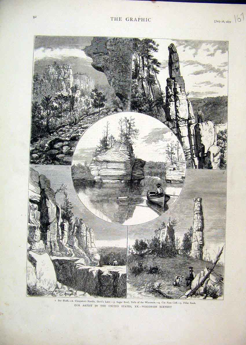 Print 1877 America Wisconsin Pillar Rock Cleopatra Needle 67Mar1 Old Original