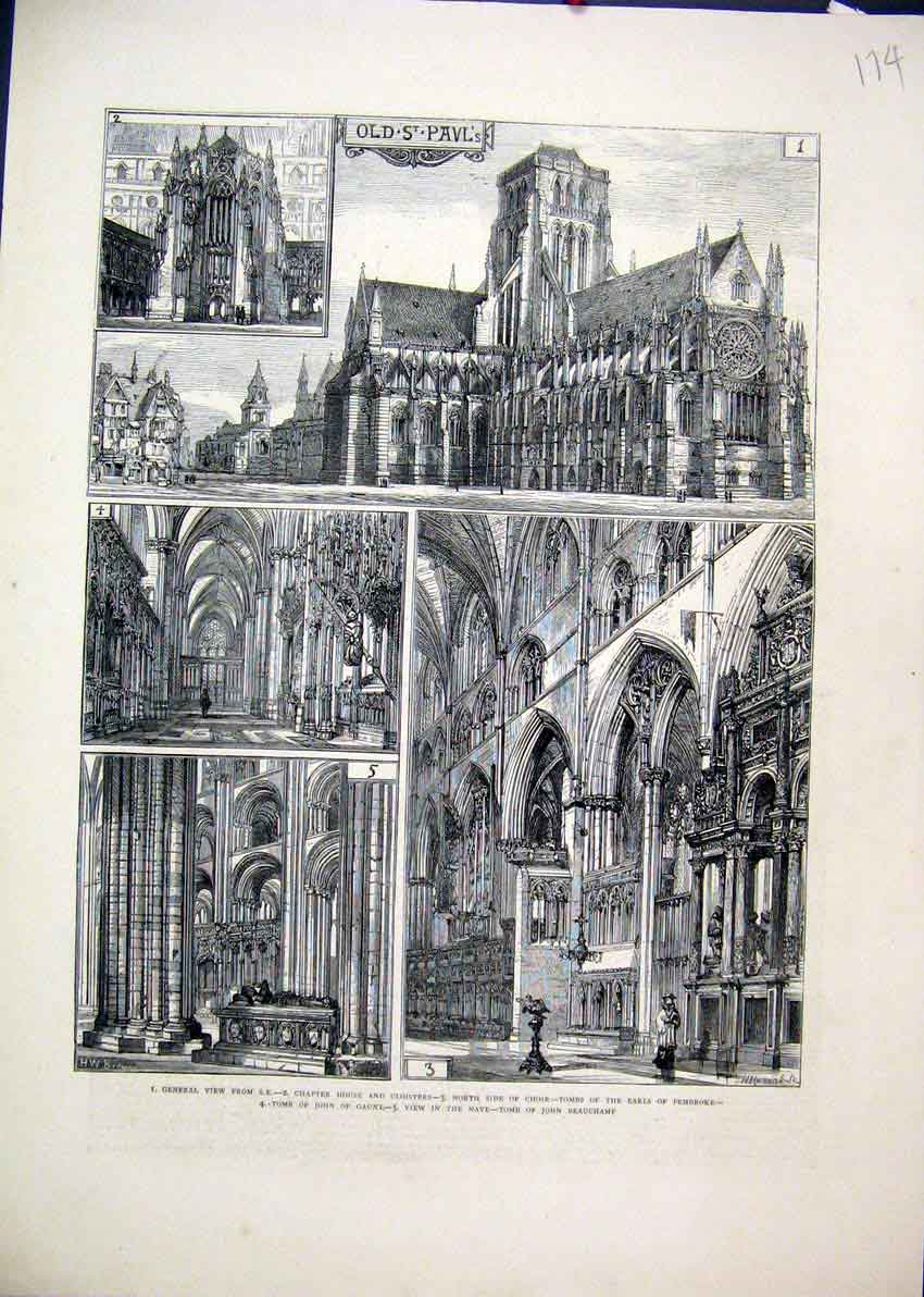 Print 1872 Pauls Cathedral Chapter House Cloisters Tombs Nave 74Mar1 Old Original
