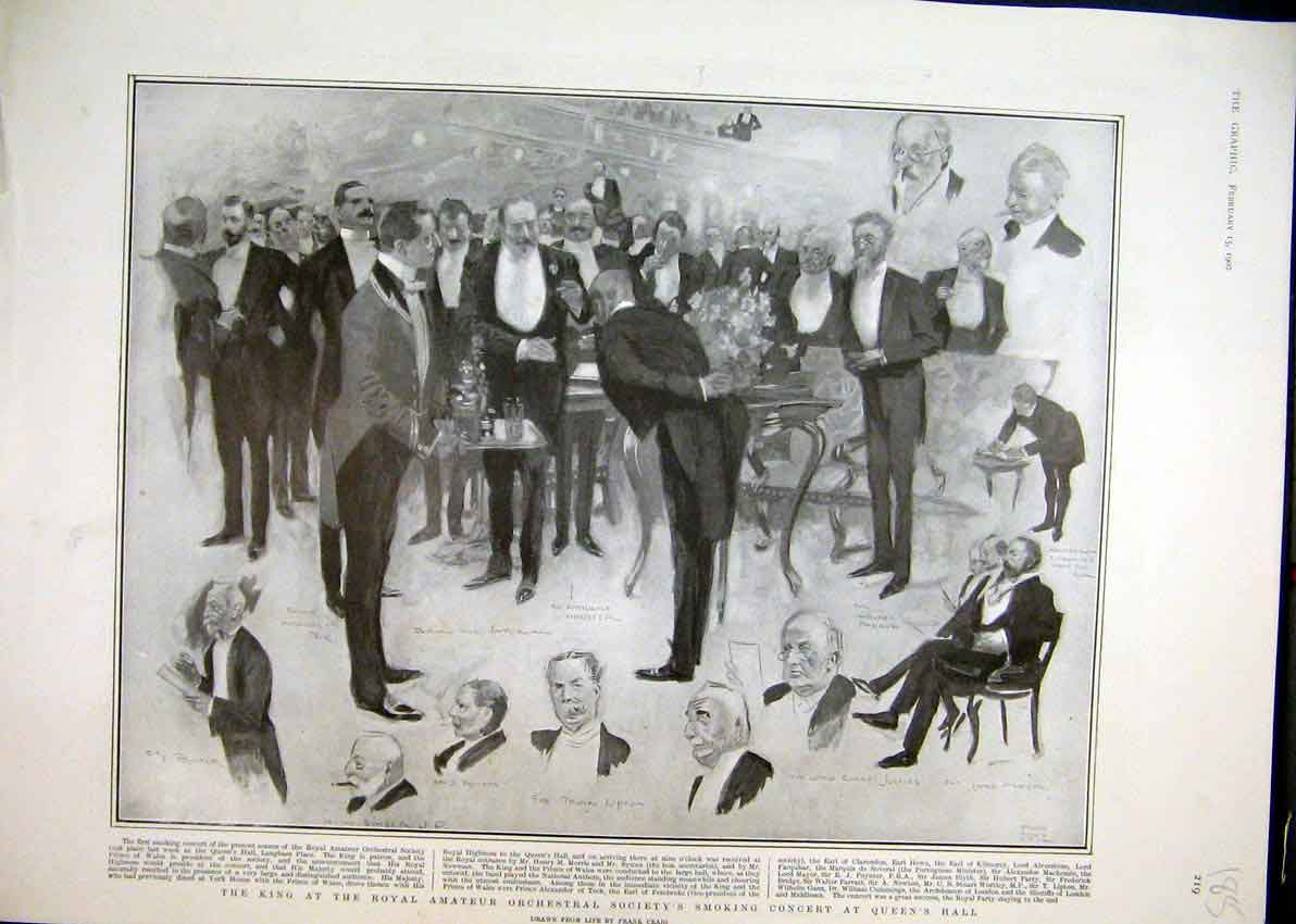 Print 1902 King Royal Amateur Orchestral Society Smoking Hall 85Mar1 Old Original