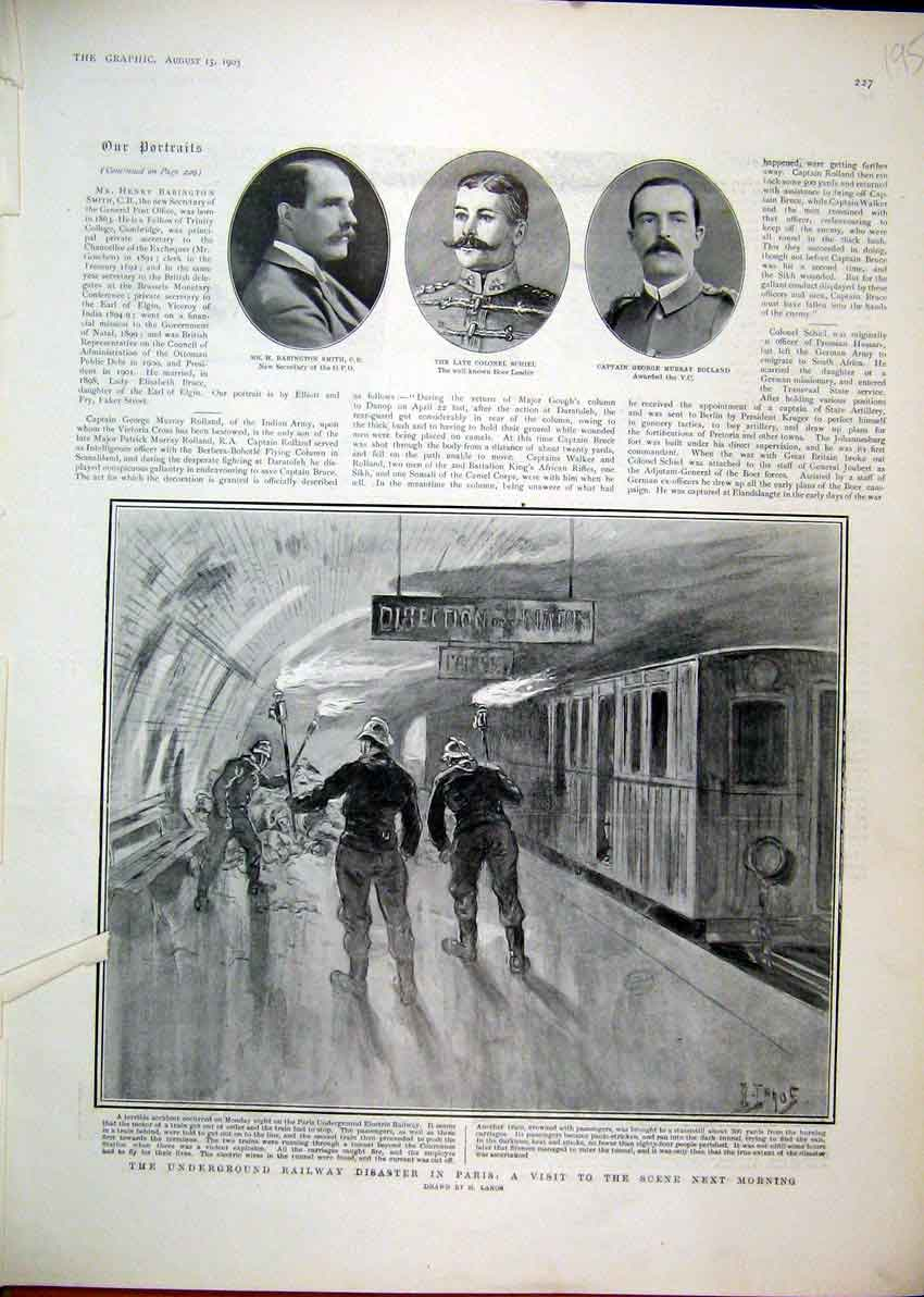 Print 1903 Underground Railway Disaster Paris Train Schiel 95Mar1 Old Original