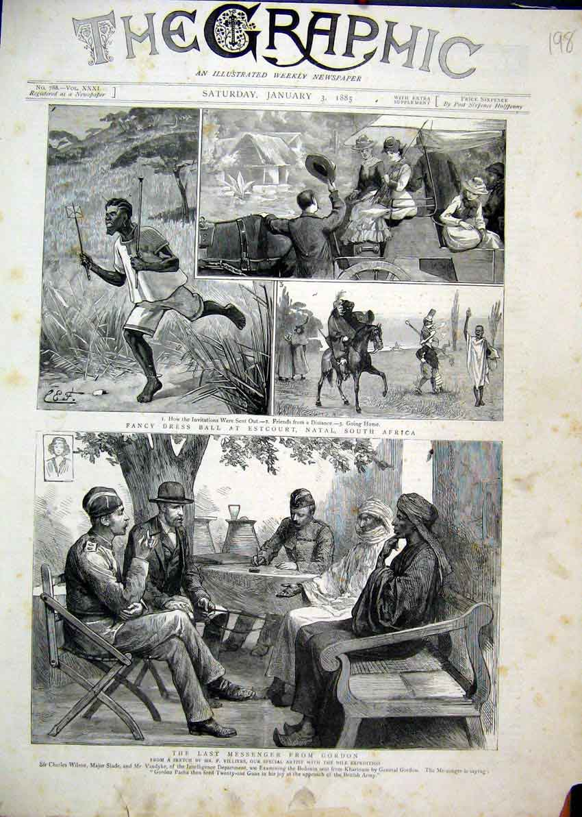 Print Fancy Dress Ball Estcourt Natal South Africa 1885 Nile 98Mar1 Old Original