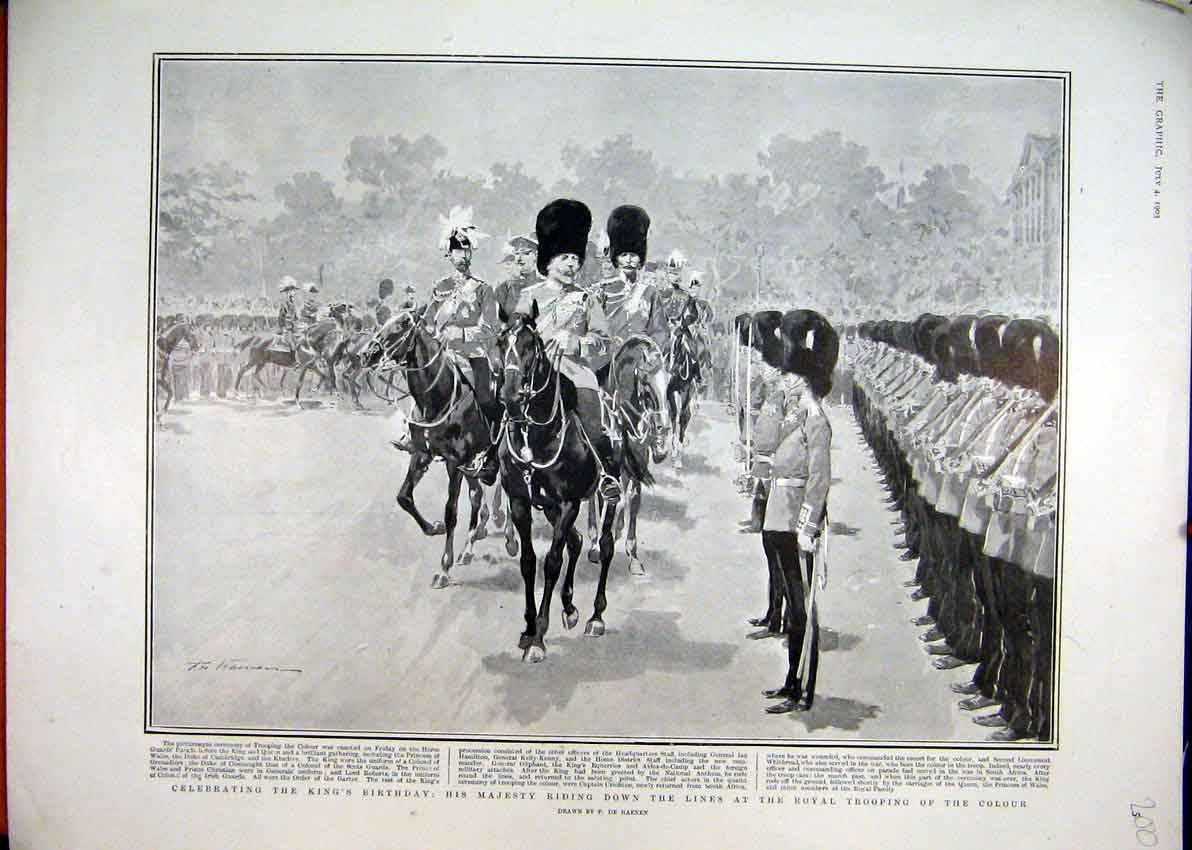 Print 1903 Kings Birthday Riding Horse Royal Trooping Colour 00Mar1 Old Original