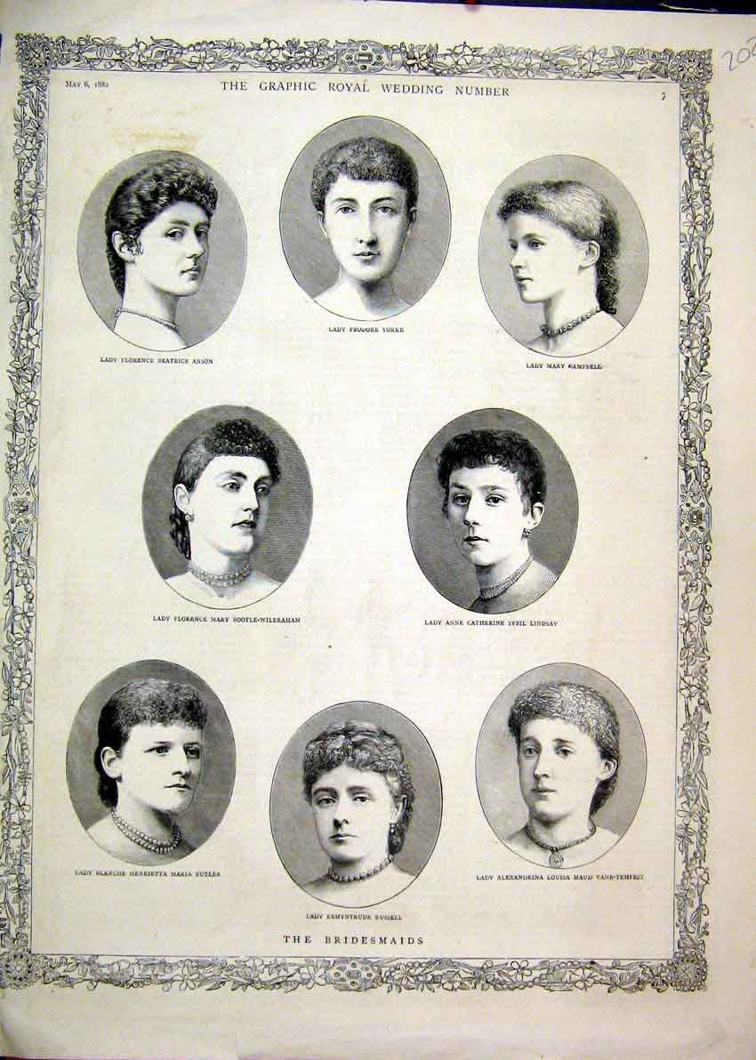 Print 1882 Portriat Royal Wedding Bridesmaids Lady Lindsay 02Mar1 Old Original