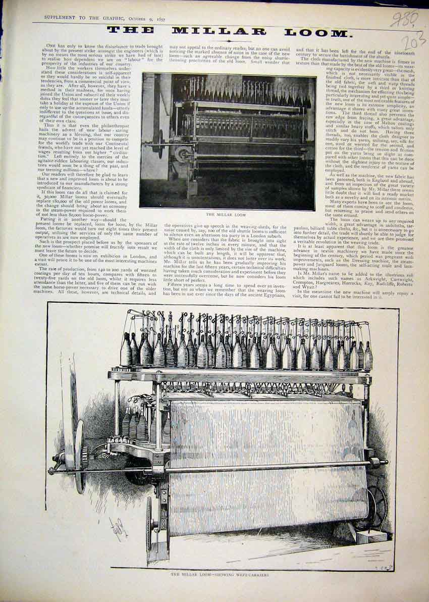 Print 1897 Millar Loom Weft Carriers Sketch Photograph Thread 03Mar1 Old Original