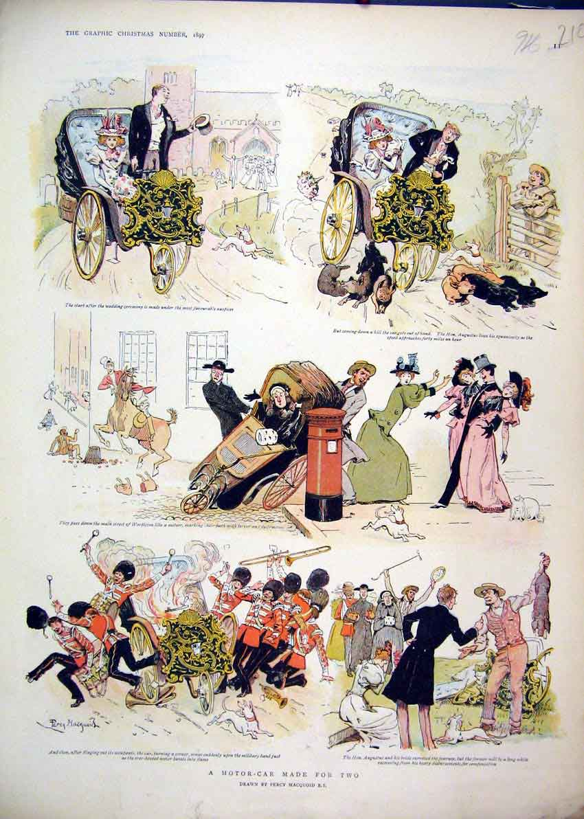 Print 1897 Comedy Christmas Sketches Colour Wedding 10Mar1 Old Original