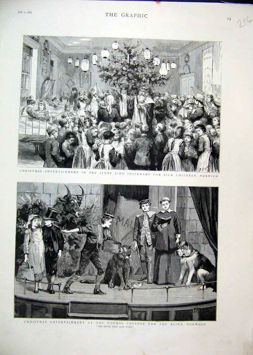 Print 1887 Christmas Sick Children Hospital College Blind 16Mar1 Old Original