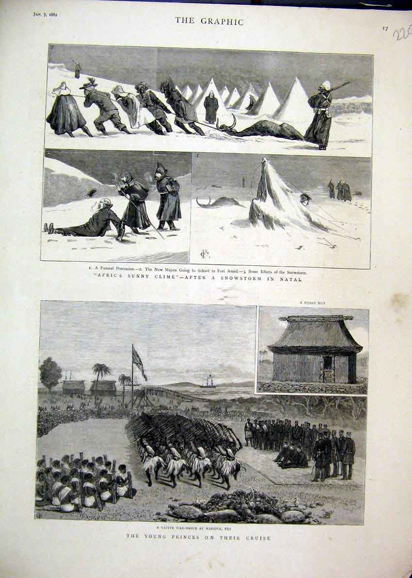 Print 1882 Snow Natal Native War Dance Nassova Fijian Hut 20Mar1 Old Original
