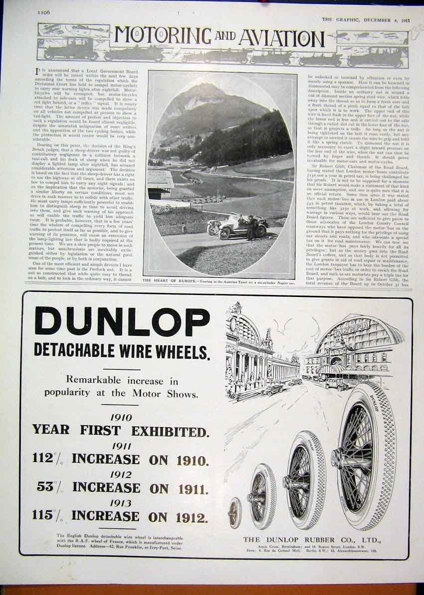Print 1913 Advert Dunlop Motor Tyres Lion Austro Daimler Car 29Mar1 Old Original