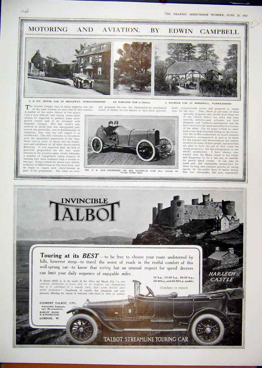 Print 1913 Motoring Aviation Advert Dunlop Detachable Wire 30Mar1 Old Original