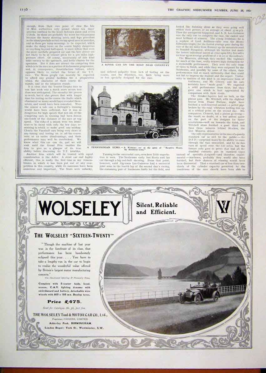 Print 1914 Motoring Aviation Advert Talbot Touring Car Castle 31Mar1 Old Original