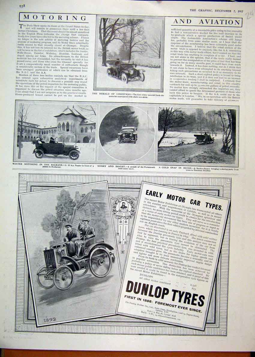 Print 1912 Advert Dunlop Motor Car Tyre Straker Squire Napier 41Mar1 Old Original