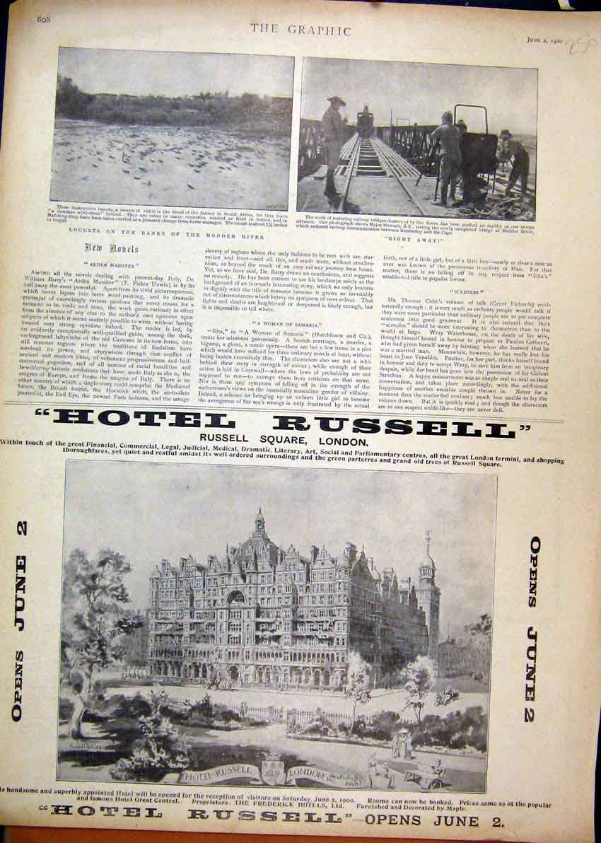 Print 1900 Advert Hotel Russell Locusts Modder River Train 56Mar1 Old Original