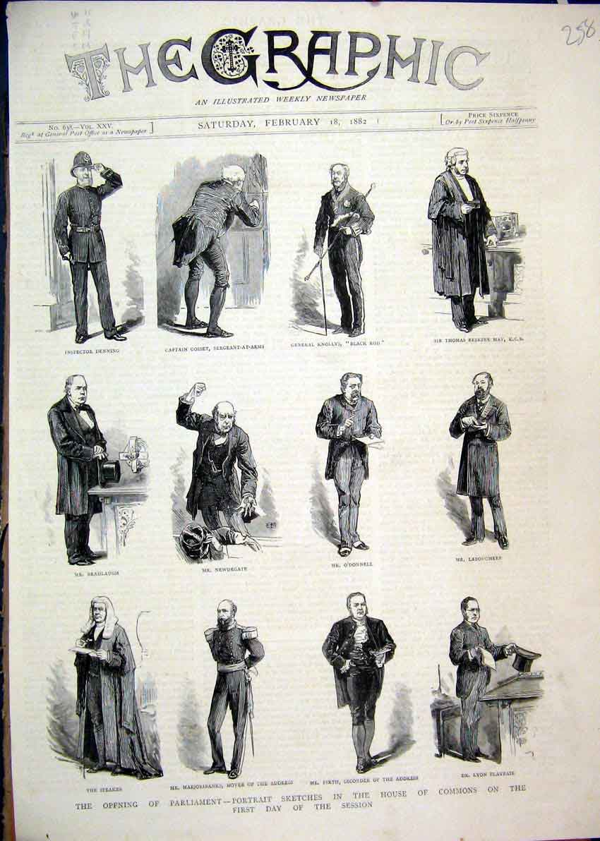 Print 1882 Portrait Sketches House Commons Parliament Speaker 58Mar1 Old Original