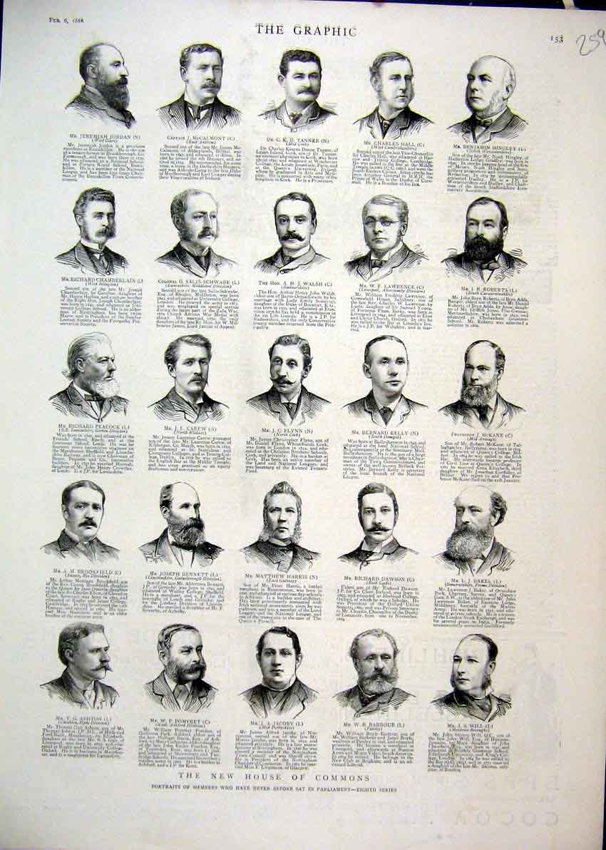 Print 1886 Portraits Member House Commons Eighth Series 59Mar1 Old Original