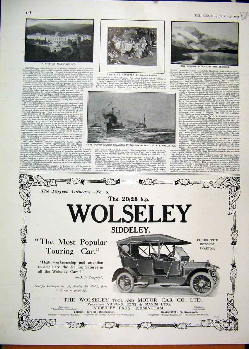 Print 1910 Advert Wolseley Tool Touring Motor Car Engadine 60Mar1 Old Original