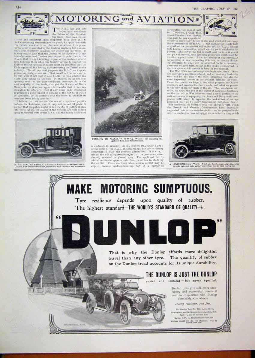 Print 1912 Advertdunlop Motor Car Tyre Wolseley Wales 61Mar1 Old Original