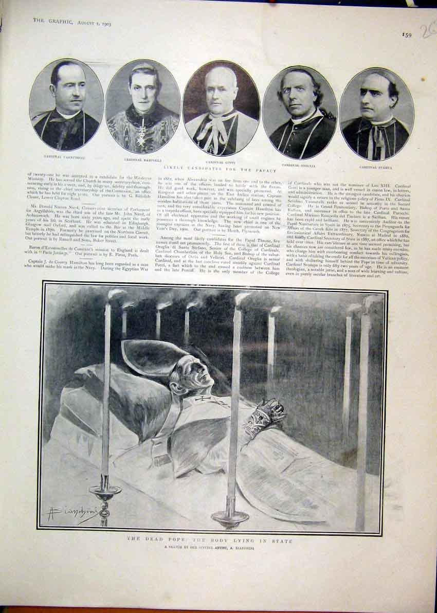Print 1903 Candidates Papacy Dead Pope Body Lying State 63Mar1 Old Original
