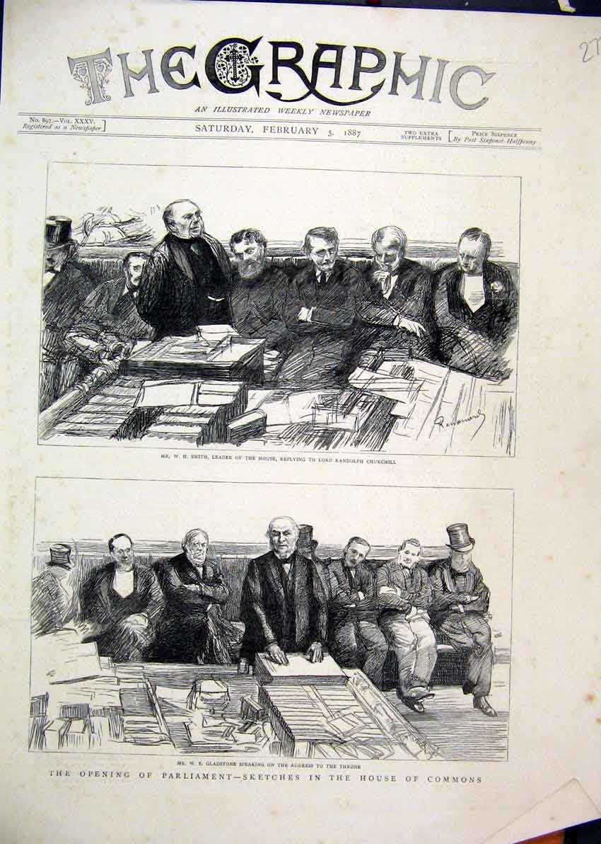 Print 1887 Parliament Gladstone Throne Smith House Churchill 77Mar1 Old Original
