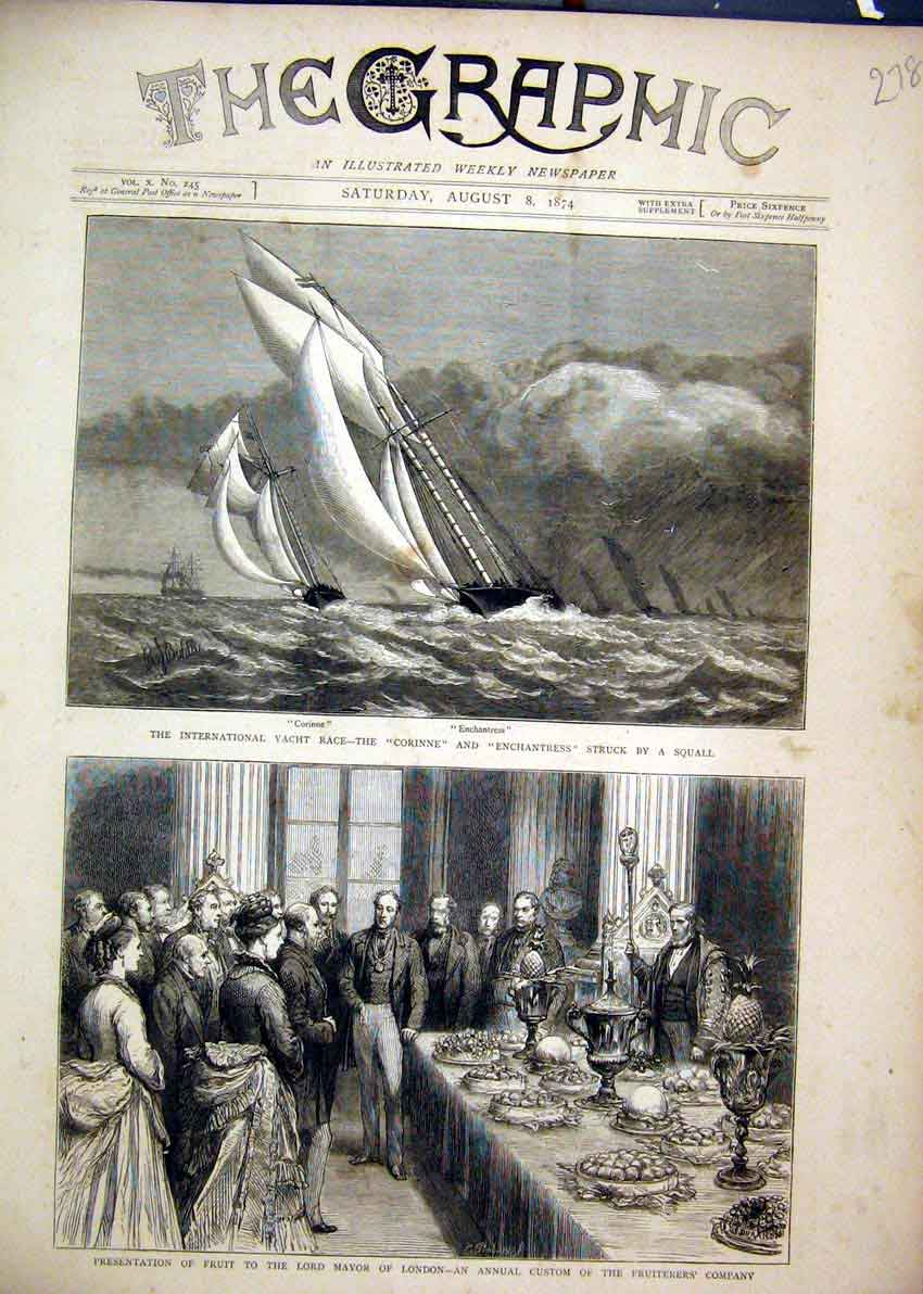 Print 1874 Yacht Race Corinne Enchantress Squall Fruit Mayor 78Mar1 Old Original