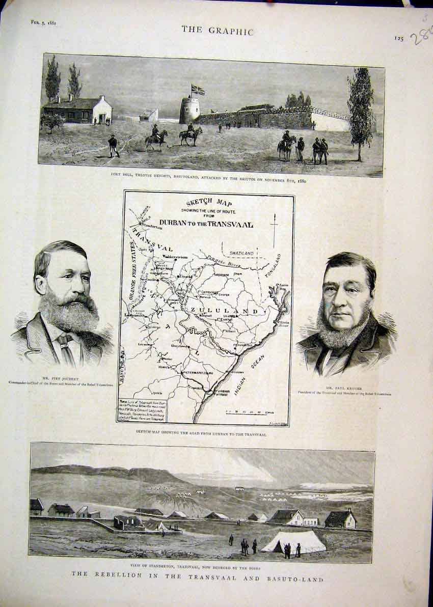Print 1881 Transvaal Basuto-Land Joubert Kruger Fort Bell 80Mar1 Old Original