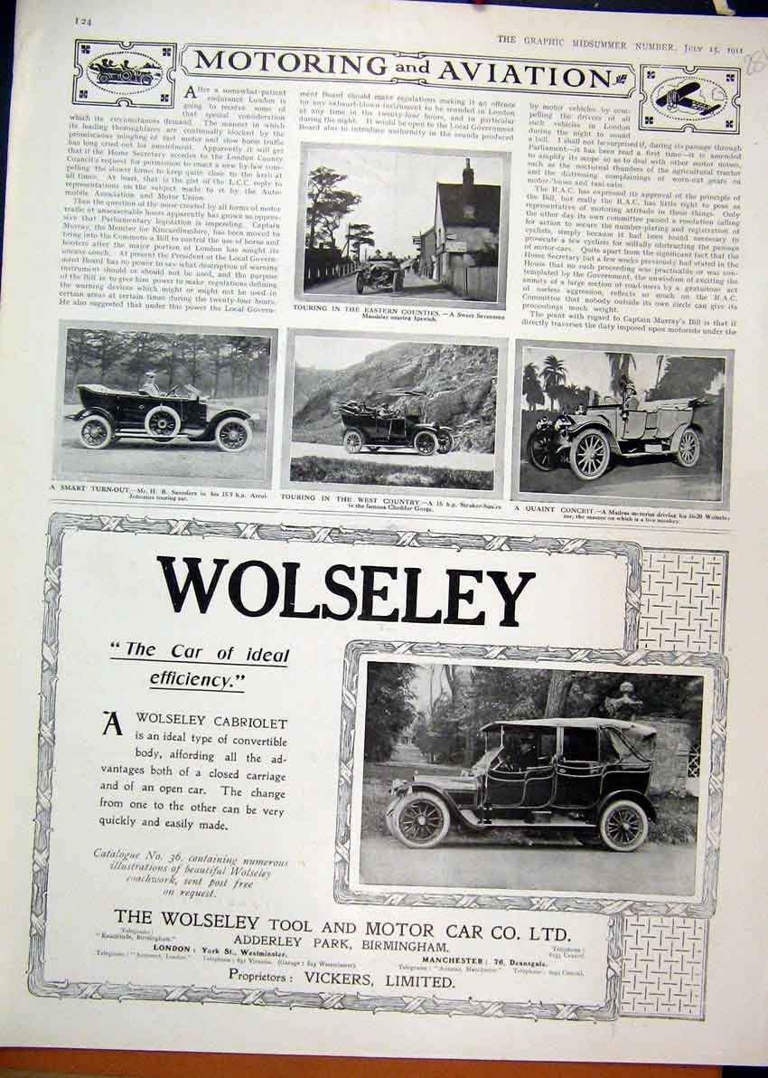 Print 1911 Advert Wolseley Motor Car Straker Squire Madras 81Mar1 Old Original