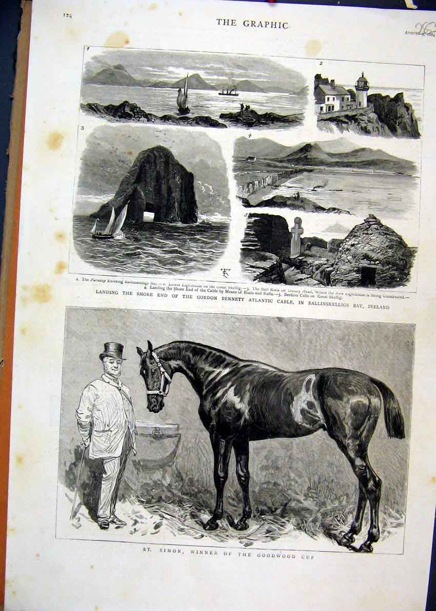 Print 1884 Simon Horse Goodwood Cup Bennett Atlantic Cable 83Mar1 Old Original