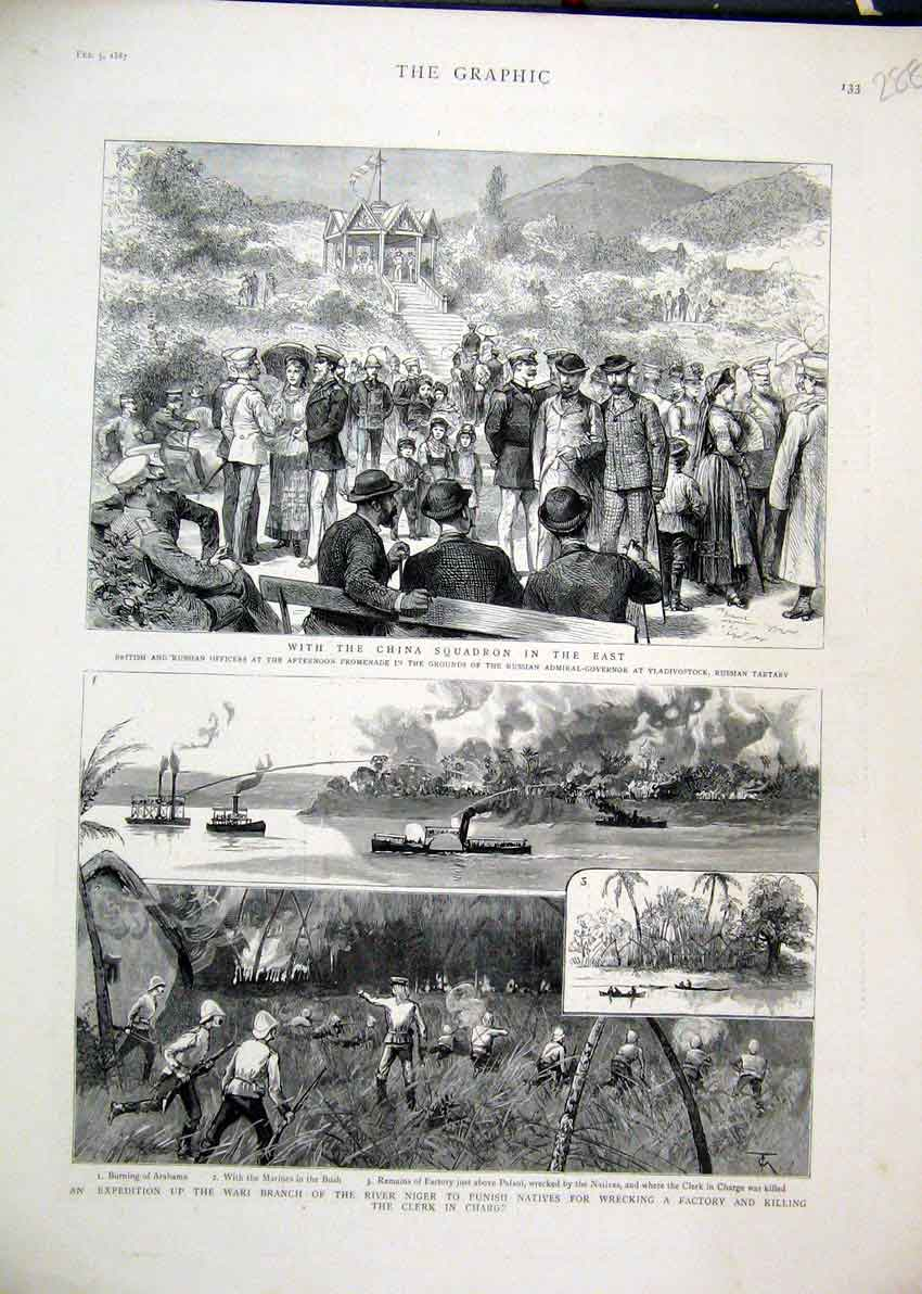 Print 1887 British Officers Vladivostock Wari Branch Niger 88Mar1 Old Original