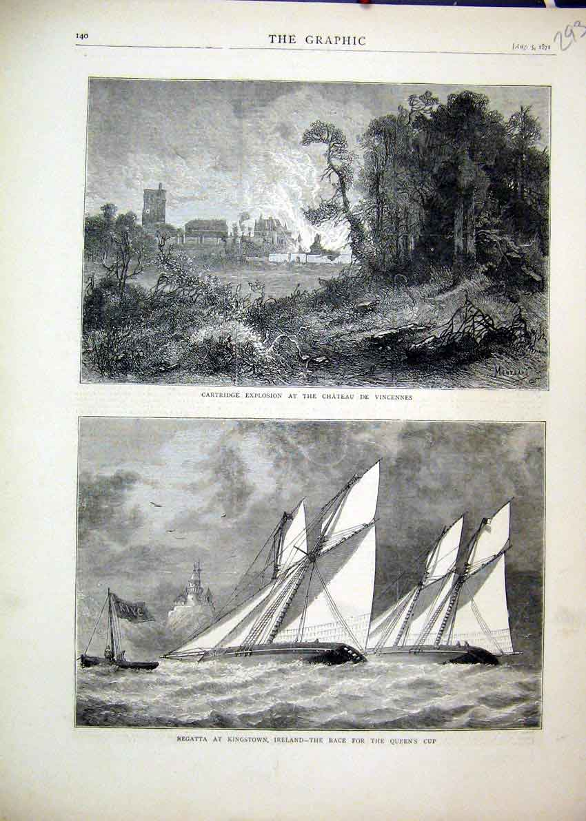 Print 1871 Regatta Kingstown Ireland Race Explosion Vincennes 93Mar1 Old Original