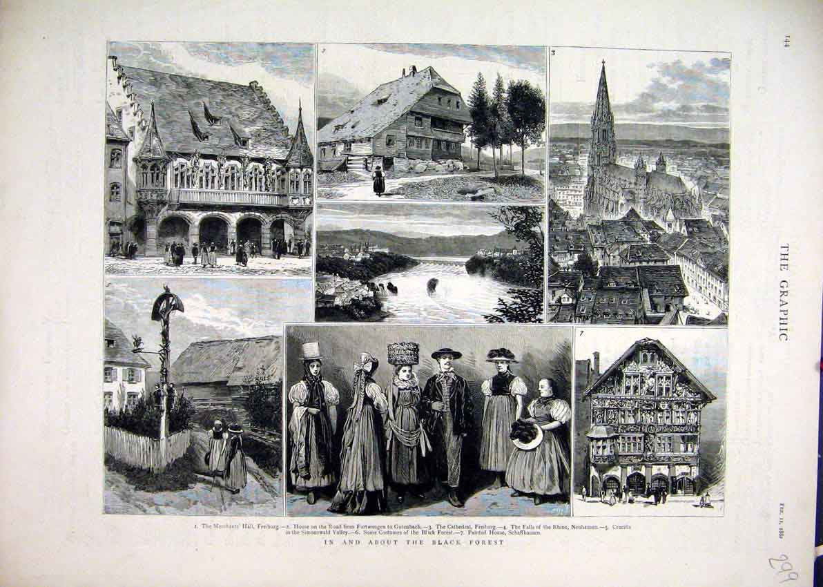 Print 1882 Black Forest Merchants Hall Cathedral Freiburg 99Mar1 Old Original