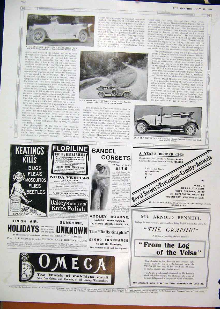 Print Advert Omega Watchmaker 1914 Keatings Powder Corsets 02Mar1 Old Original