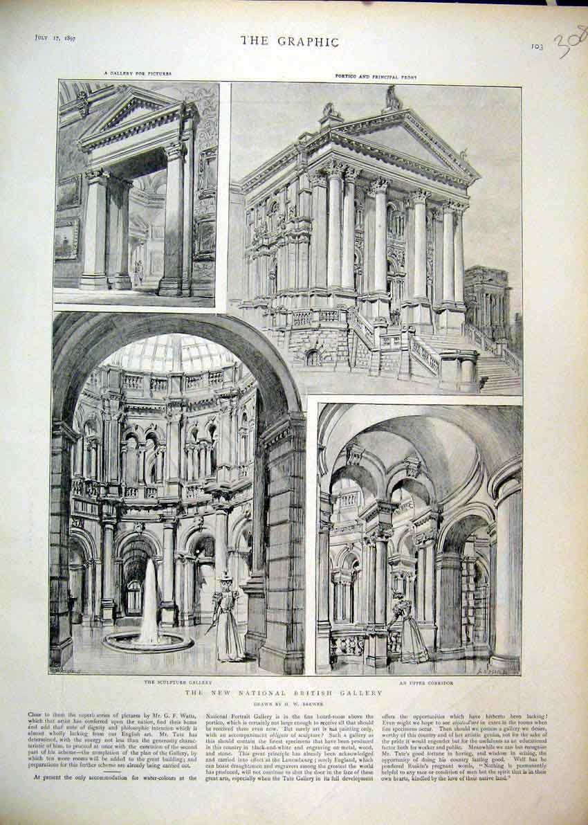 Print 1897 National British Gallery Sculpture Portico Front 08Mar1 Old Original