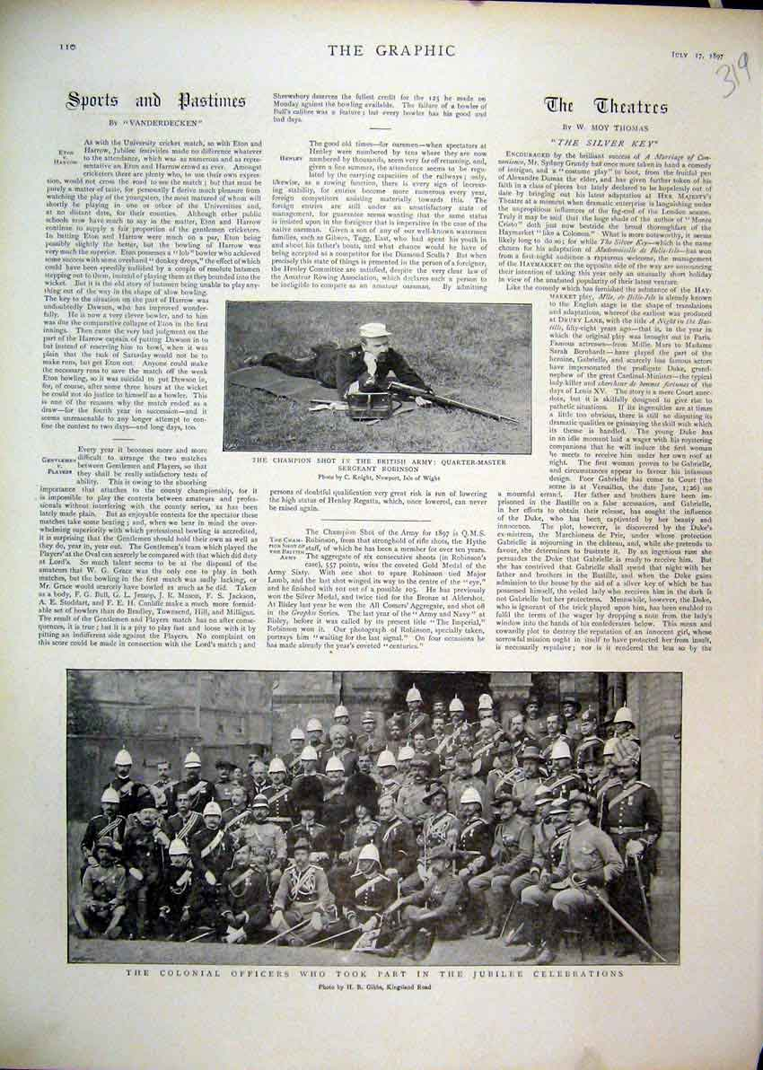 Print 1897 Colonial Officers Jubille Celebrations Robinson 19Mar1 Old Original