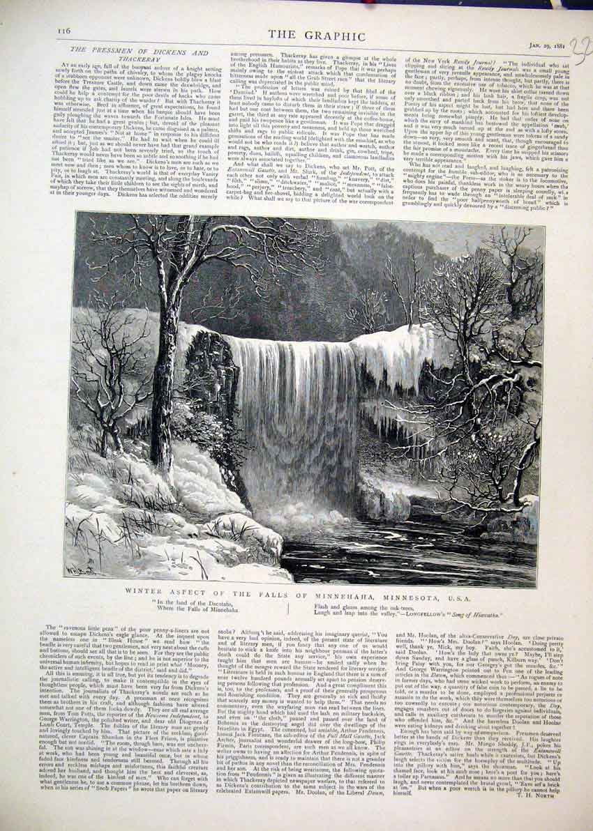 Print Scene Winter Aspect Falls Minnehaha Minnesota 1881 21Mar1 Old Original