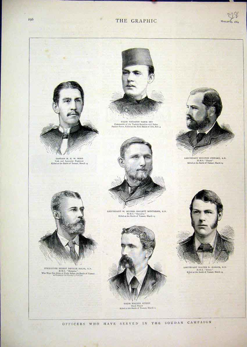 Print Officers Serving Soudan Campaign 1884 Aitken Almack 28Mar1 Old Original