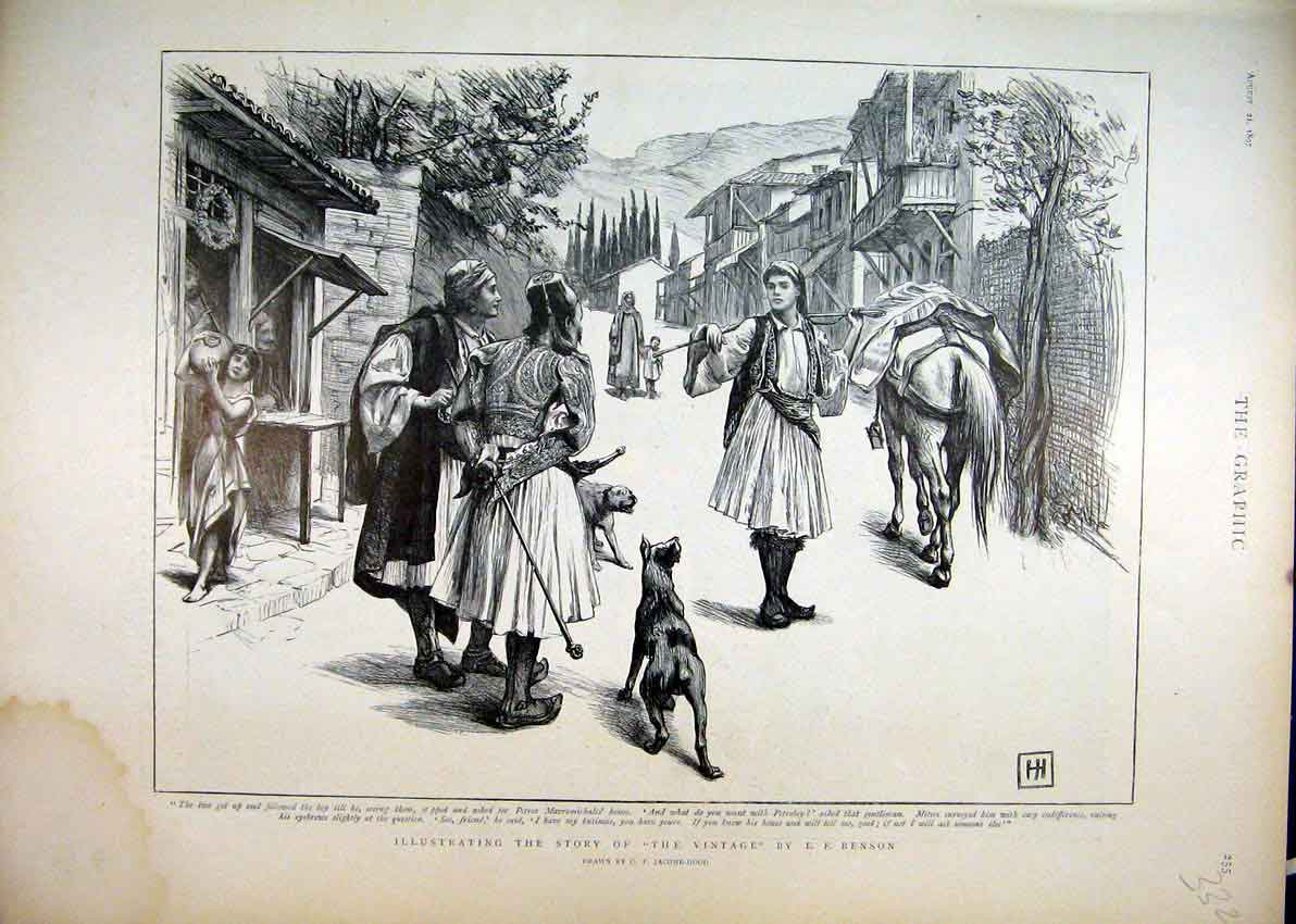 Print 1897 Benson Street Scene Horse Dog Boy Water 32Mar1 Old Original