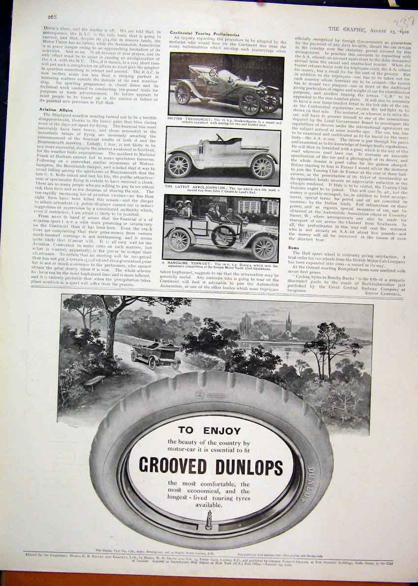 Print 1910 Advert Dunlop Grooved Tyres Straker Squire Arrol 37Mar1 Old Original