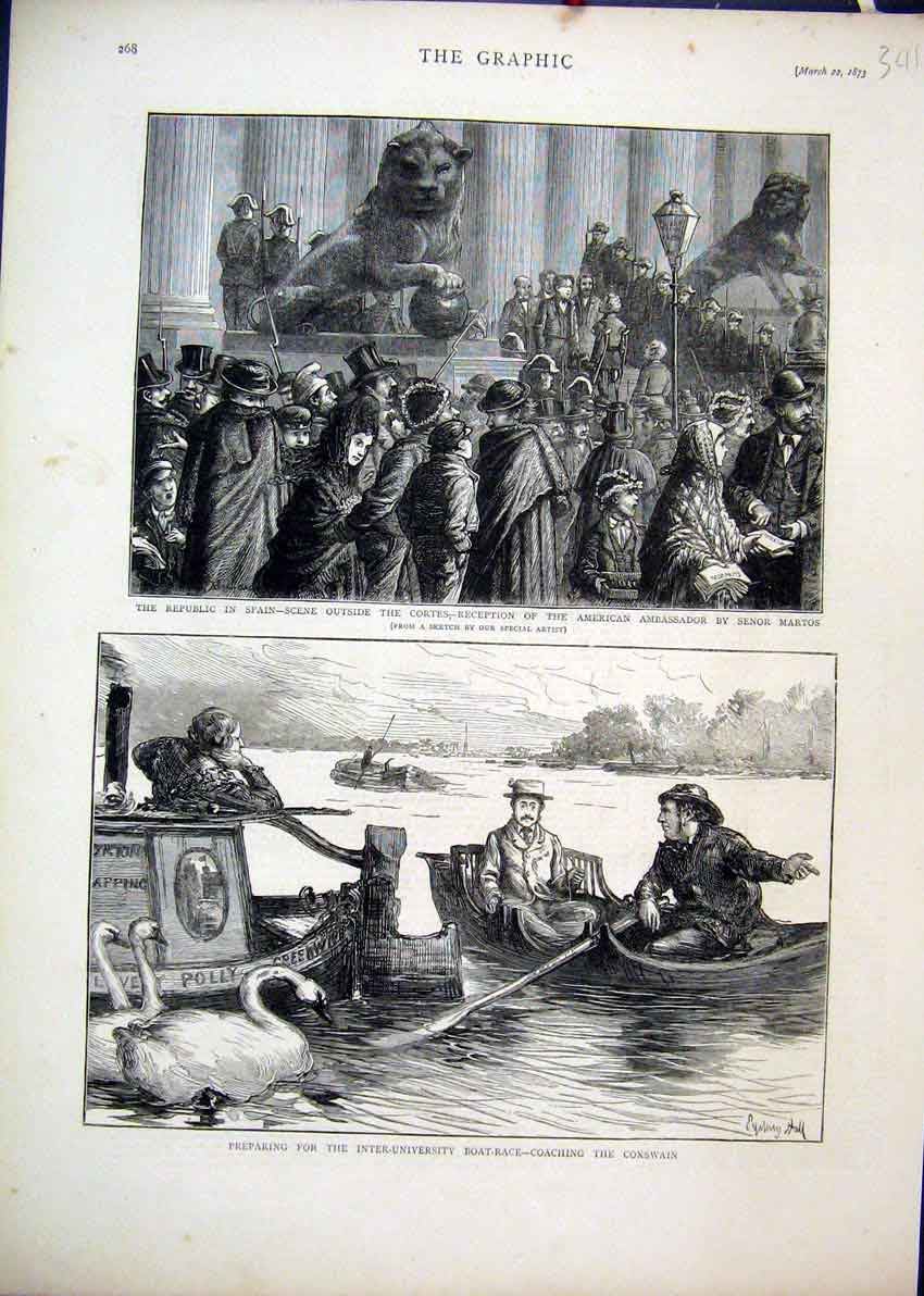 Print 1873 Spain Cortes Senor Martos University Boat Race 41Mar1 Old Original