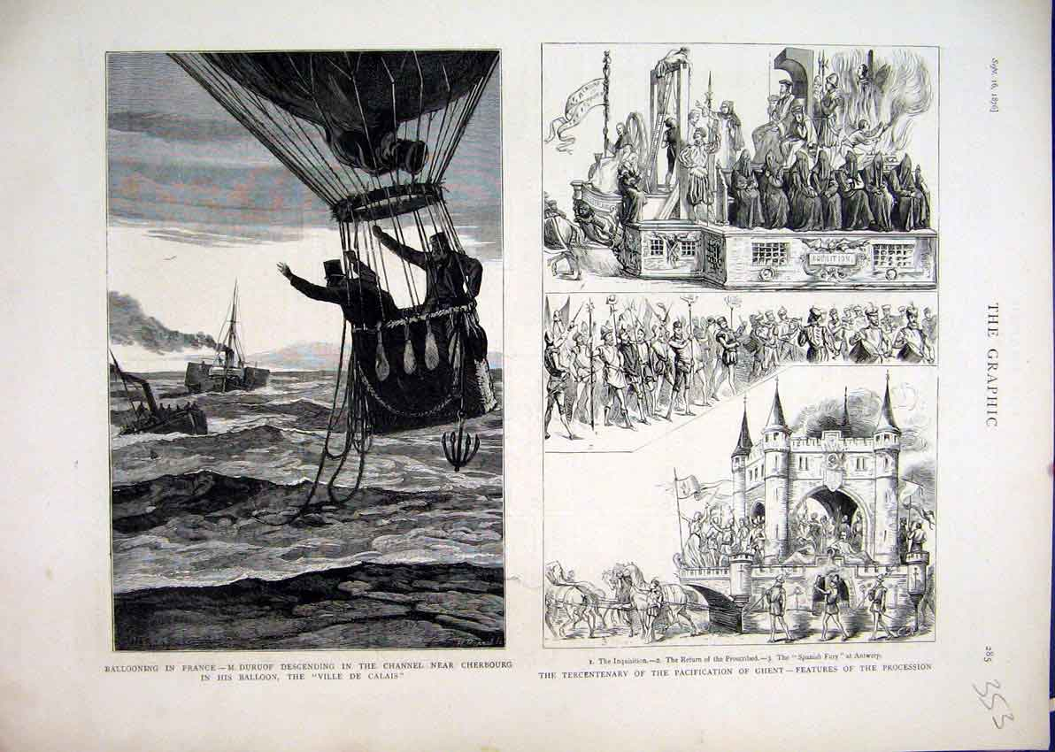 Print Ballooning France 1876 Pacification Ghent Procession 53Mar1 Old Original