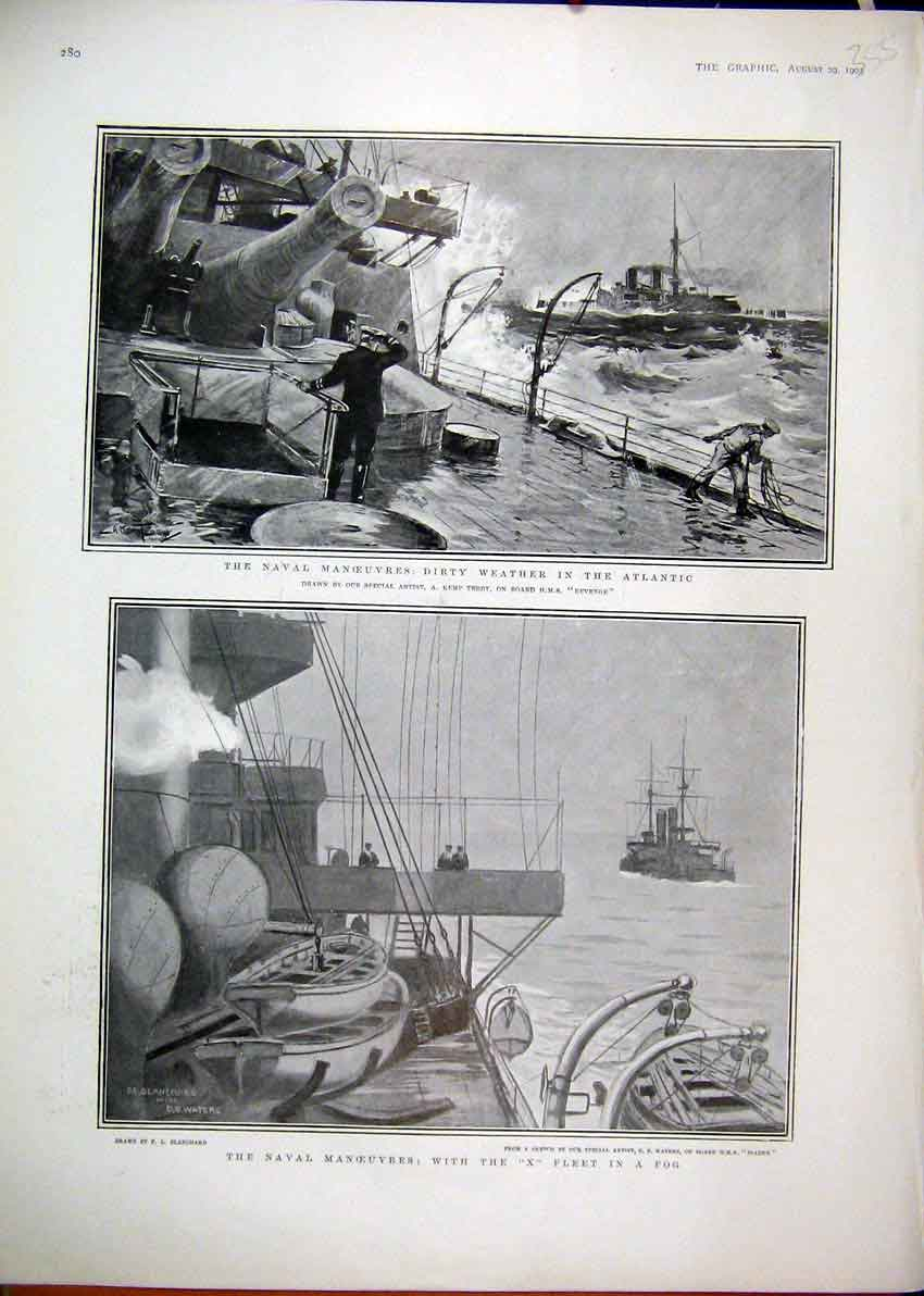 Print Naval Manoeuvres X Fleet Stormy Weather Atlantic 1903 55Mar1 Old Original