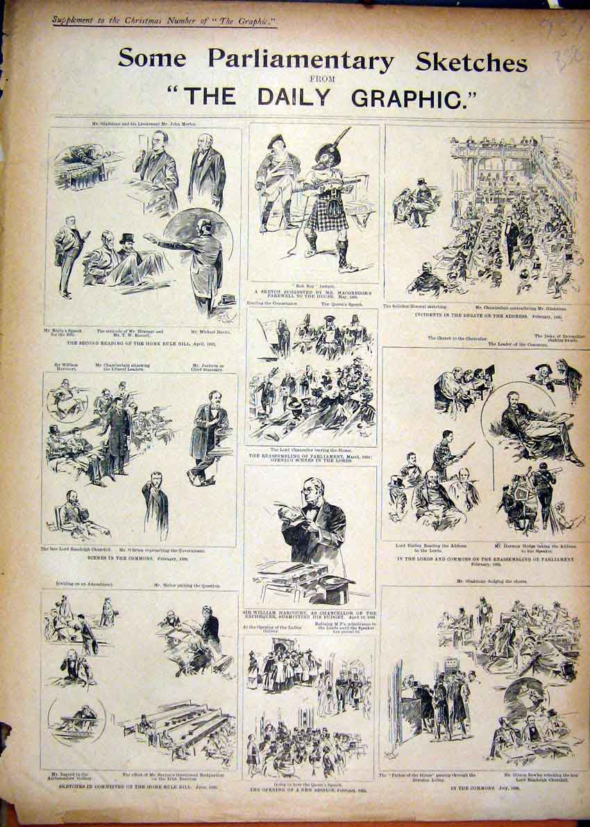 Print Sketches Parliament Rob Roy William Harcourt Churchill 58Smar1 Old Original