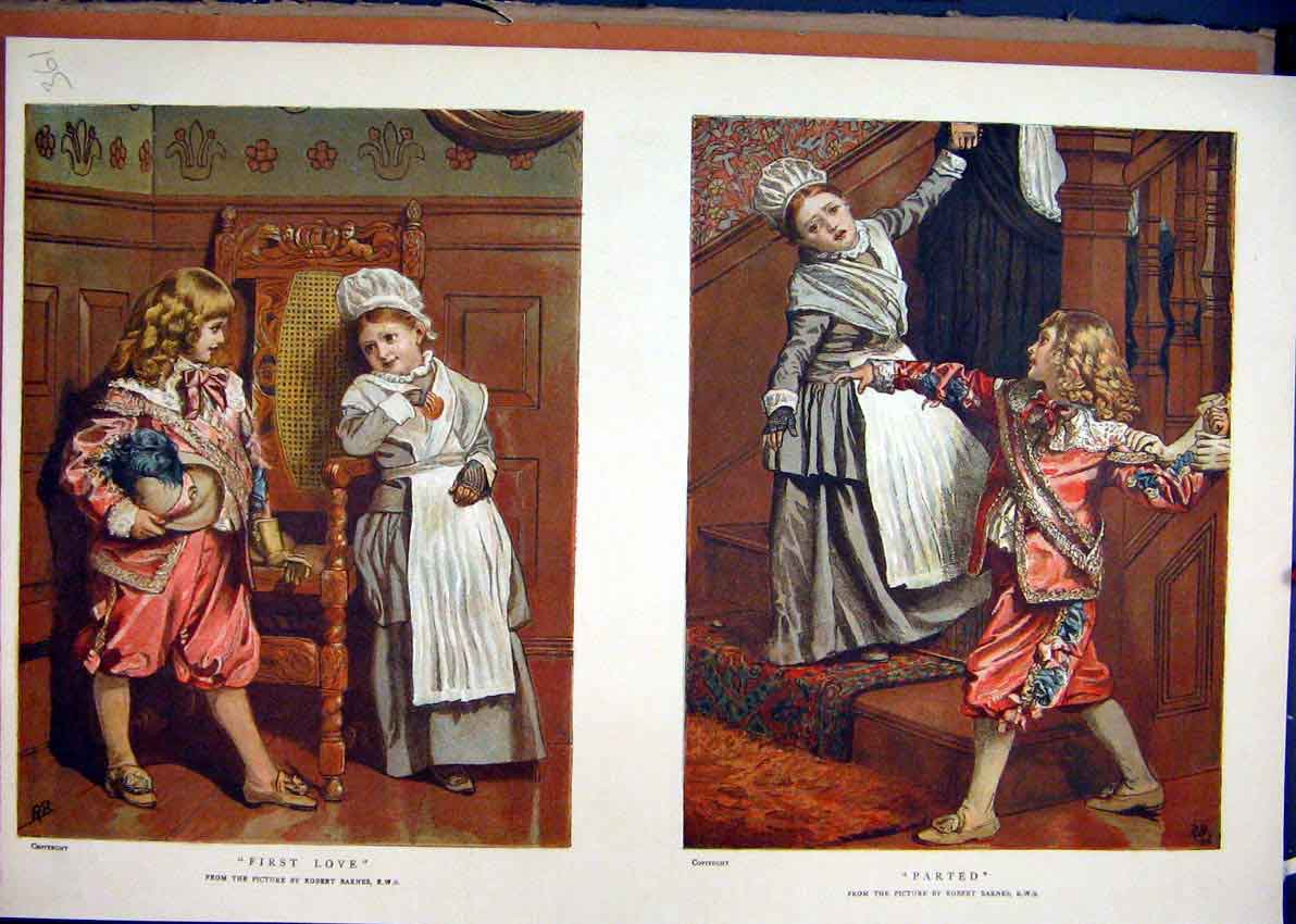 Print Children Colour 1887 Playing Stairs Chair Romance 61Mar1 Old Original