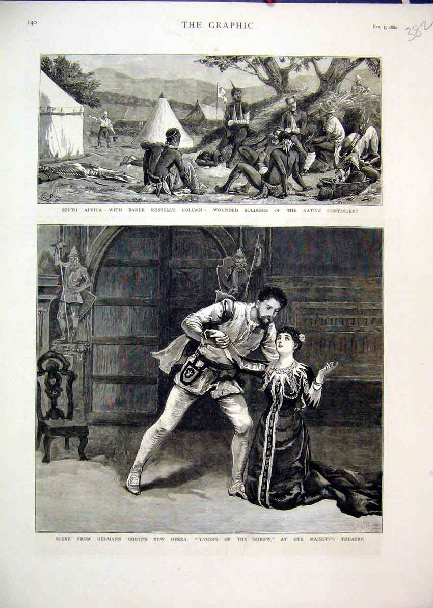 Print Hermann Goetz Opera 1880 Majesty Theatre Shrew Taming 82Mar1 Old Original