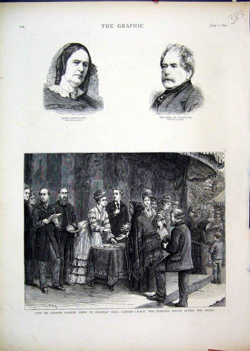 Print London Flower Show 1874 Drapers Hall Garden Louise 83Mar1 Old Original