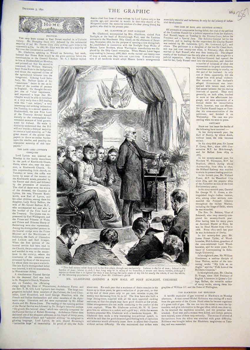 Print 1891 Gladstone Opening Hall Port Sunlight Cheshire 87Mar1 Old Original