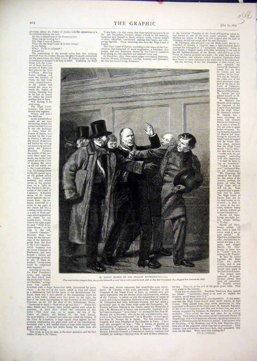 Print 1877 Dupin Seized Representatives Scarf Neck Violence 98Mar1 Old Original