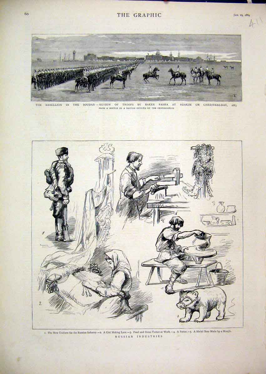 Print 1884 Russian Industries Lace Pearl Potter Soudan Pasha 11Mar1 Old Original