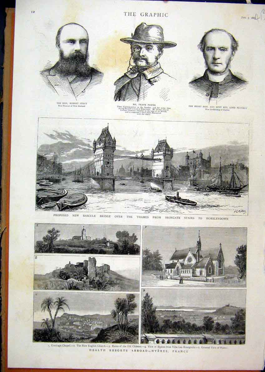 Print 1885 Health Resorts Hyeres France Thames River Bridge 13Mar1 Old Original