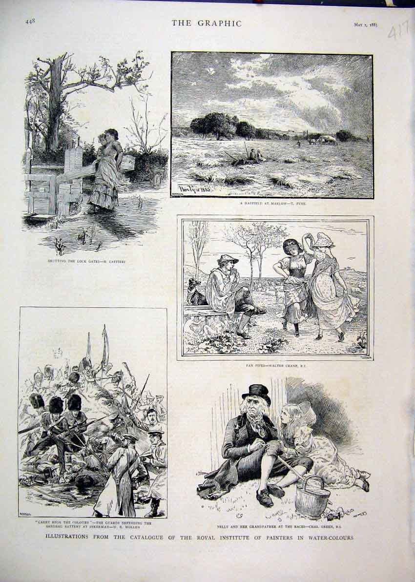 Print 1885 Guards Defending Sandbag Battery Inkerman Hayfield 17Mar1 Old Original