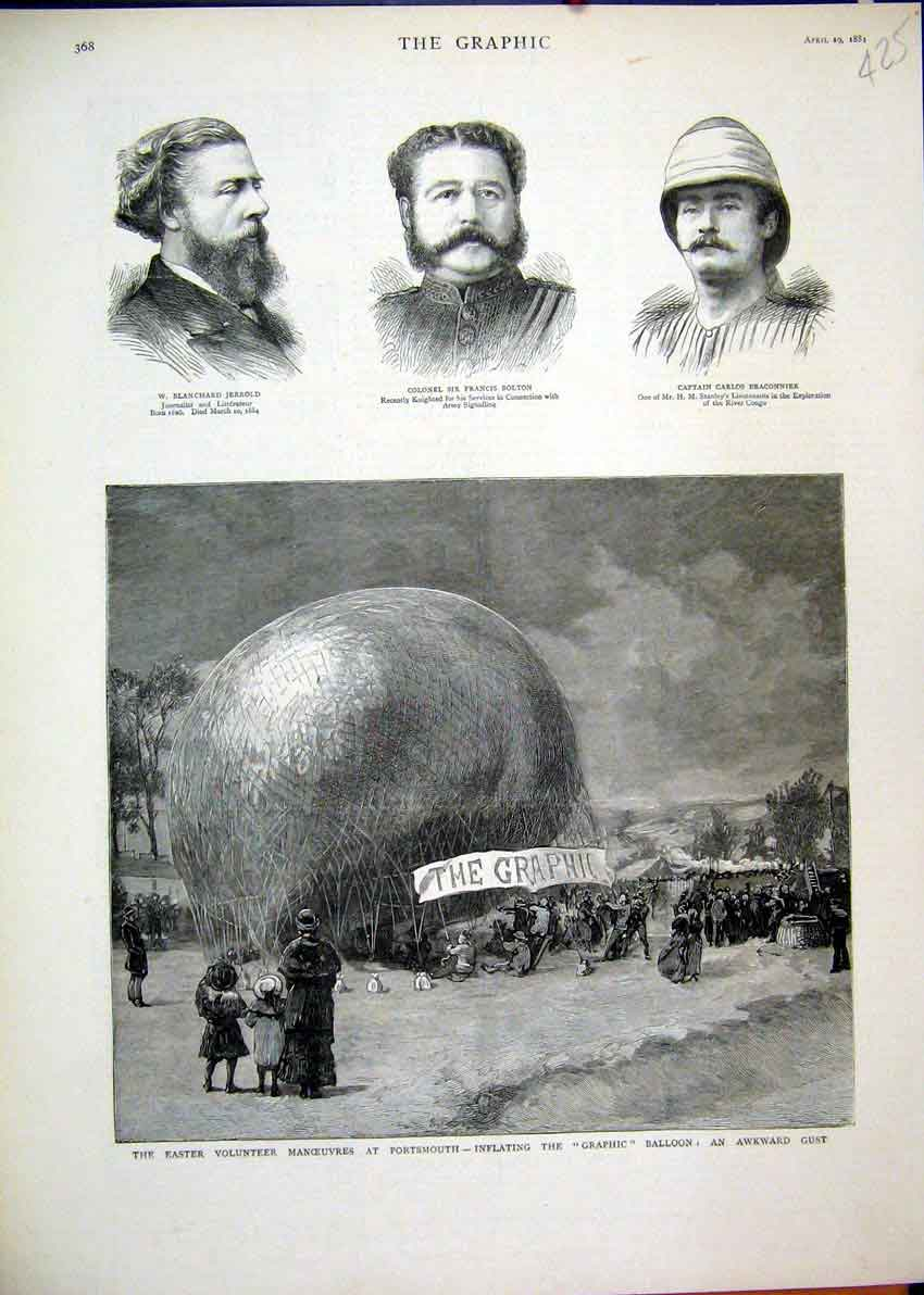 Print Portsmouth 1881 Inflating Graphic Balloon Bolton Army 25Mar1 Old Original
