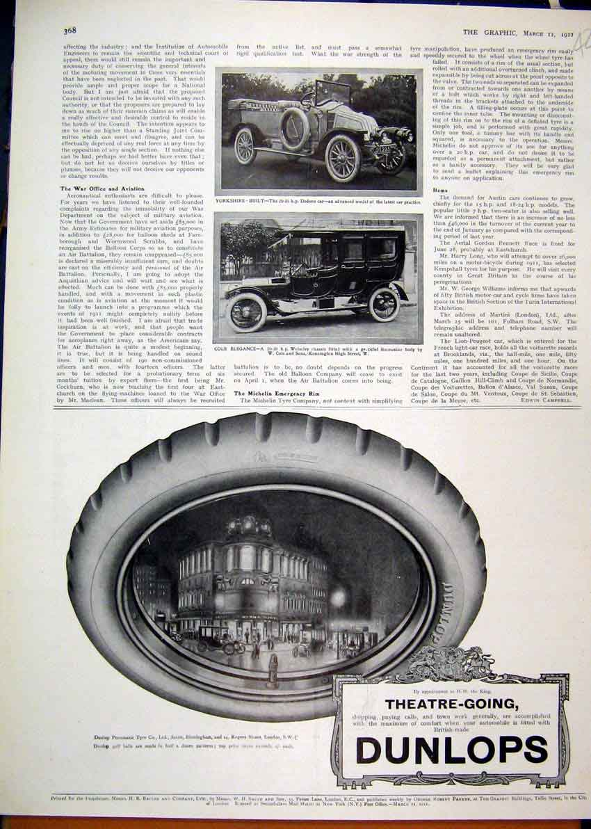 Print 1911 Advert Dunlop Tyres Pneumatic Limousine Dodson Car 26Mar1 Old Original